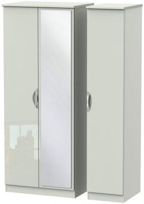 Camden High Gloss Kaschmir 3 Door Mirror Wardrobe