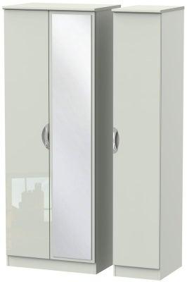 Camden High Gloss Kaschmir 3 Door Tall Mirror Wardrobe