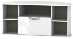 Camden High Gloss White 1 Drawer Corner TV Unit