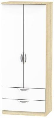 Camden 2 Door 2 Drawer Wardrobe - High Gloss White and Bardolino