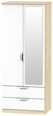 Camden 2 Door Mirror Combi Wardrobe - High Gloss White and Bardolino