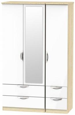 Camden 3 Door 4 Drawer Mirror Wardrobe - High Gloss White and Bardolino