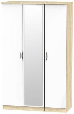 Camden 3 Door Mirror Wardrobe - High Gloss White and Bardolino