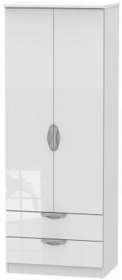 Camden High Gloss White 2 Door 2 Drawer Tall Wardrobe