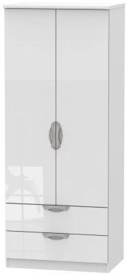 Camden High Gloss White 2 Door 2 Drawer Wardrobe