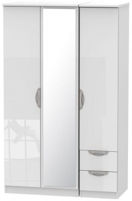 Camden High Gloss White 3 Door 2 Right Drawer Mirror Wardrobe