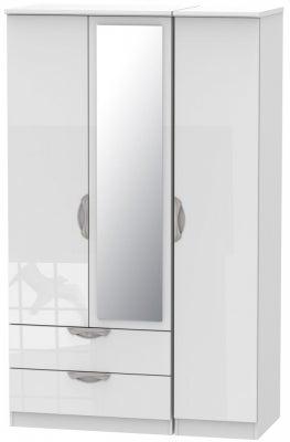 Camden High Gloss White 3 Door 2 Left Drawer Mirror Wardrobe