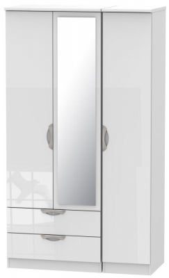 Camden High Gloss White 3 Door 2 Left Drawer Tall Mirror Wardrobe
