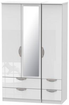Camden High Gloss White 3 Door 4 Drawer Mirror Wardrobe