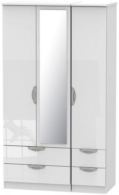 Camden High Gloss White 3 Door 4 Drawer Tall Mirror Wardrobe