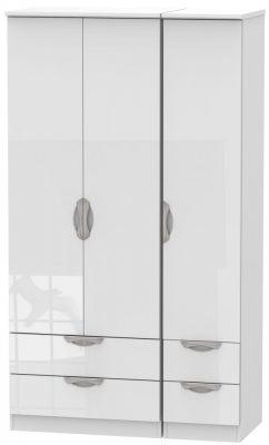 Camden High Gloss White 3 Door 4 Drawer Tall Triple Wardrobe