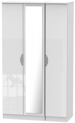 Camden High Gloss White 3 Door Tall Mirror Wardrobe