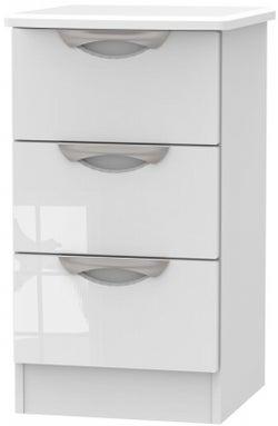 Camden High Gloss White 3 Drawer Bedside Cabinet