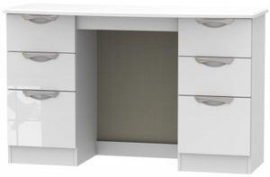 Camden High Gloss White Double Pedestal Dressing Table