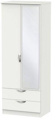 Camden Light Grey 2 Door Tall Mirror Combi Wardrobe