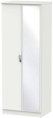 Camden Light Grey 2 Door Tall Mirror Wardrobe