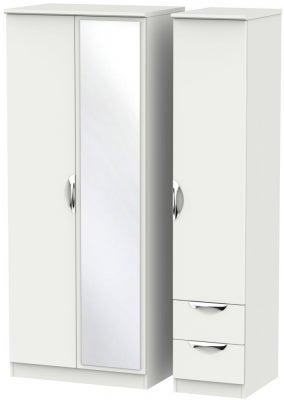 Camden Light Grey 3 Door 2 Right Drawer Mirror Wardrobe