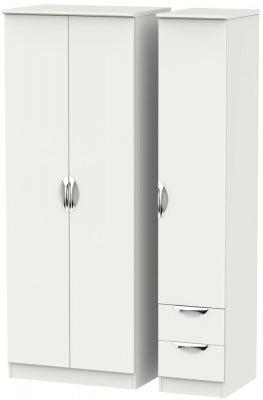 Camden Light Grey 3 Door 2 Right Drawer Tall Plain Wardrobe