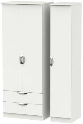 Camden Light Grey 3 Door 2 Drawer Tall Wardrobe