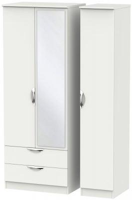 Camden Light Grey 3 Door 2 Left Drawer Tall Mirror Wardrobe
