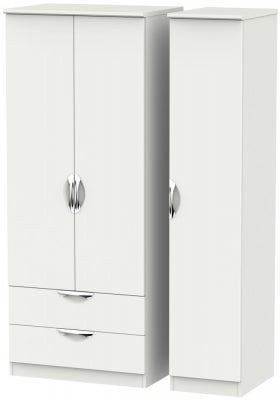 Camden Light Grey 3 Door 2 Left Drawer Wardrobe
