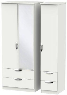 Camden Light Grey 3 Door 4 Drawer Mirror Wardrobe