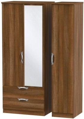 Camden Noche Walnut 3 Door 2 Left Drawer Mirror Wardrobe