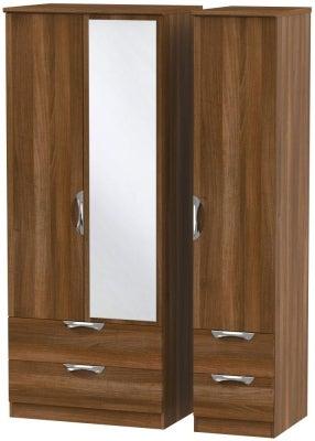 Camden Noche Walnut 3 Door 4 Drawer Mirror Wardrobe