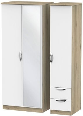 Camden 3 Door 2 Right Drawer Mirror Wardrobe - White and Bordeaux