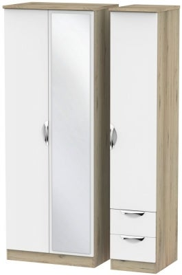 Camden 3 Door 2 Right Drawer Tall Mirror Wardrobe - White and Bordeaux