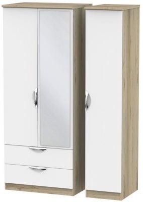 Camden 3 Door 2 Left Drawer Mirror Wardrobe - White and Bordeaux