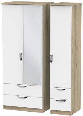 Camden 3 Door 4 Drawer Mirror Wardrobe - White and Bordeaux