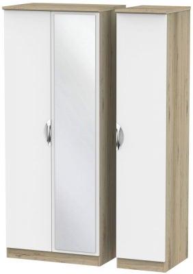 Camden 3 Door Mirror Wardrobe - White and Bordeaux