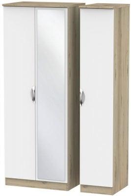 Camden 3 Door Tall Mirror Wardrobe - White and Bordeaux