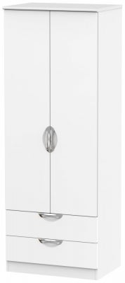 Camden White Matt 2 Door 2 Drawer Tall Wardrobe