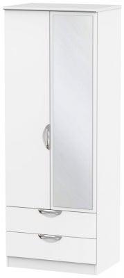 Camden White Matt 2 Door Tall Mirror Combi Wardrobe