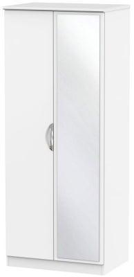 Camden White Matt 2 Door Mirror Wardrobe