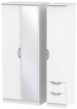 Camden White Matt 3 Door 2 Right Drawer Mirror Wardrobe
