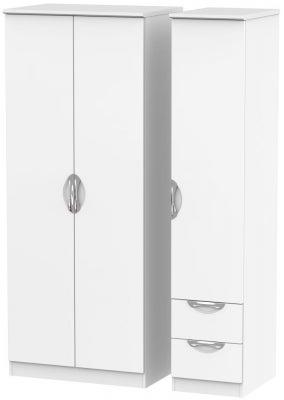 Camden White Matt 3 Door 2 Right Drawer Plain Wardrobe