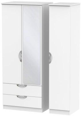 Camden White Matt 3 Door 2 Left Drawer Mirror Wardrobe