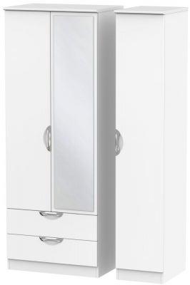 Camden White Matt 3 Door 2 Left Drawer Tall Mirror Wardrobe