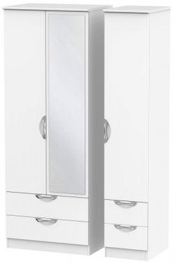 Camden White Matt 3 Door 4 Drawer Tall Mirror Wardrobe