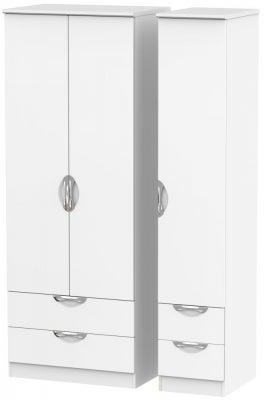 Camden White Matt 3 Door 4 Drawer Tall Triple Wardrobe