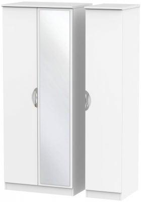 Camden White Matt 3 Door Mirror Wardrobe
