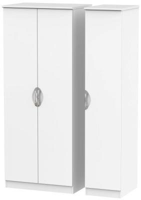 Camden White Matt 3 Door Plain Wardrobe