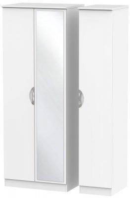Camden White Matt 3 Door Tall Mirror Wardrobe