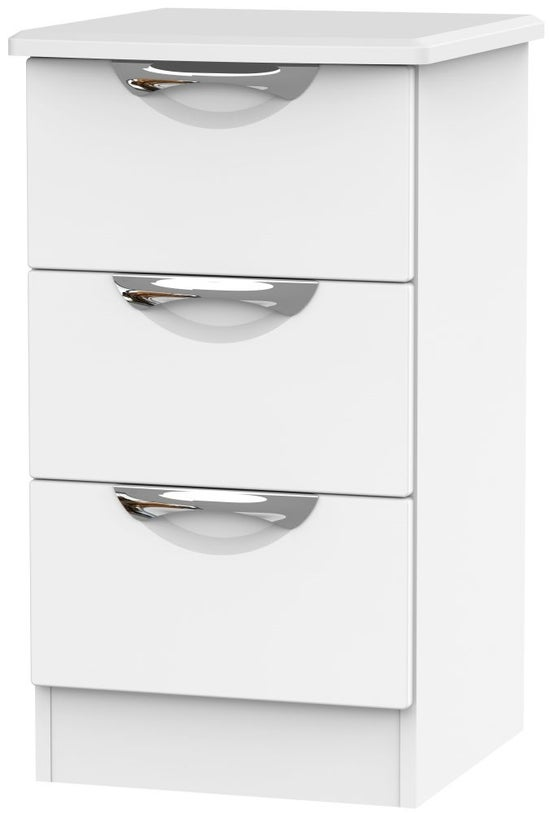 Camden White Matt 3 Drawer Bedside Cabinet