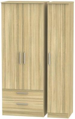 Contrast Cocobolo 3 Door 2 Drawer Wardrobe