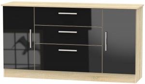 Contrast 2 Door 3 Drawer Wide Sideboard - High Gloss Black and Bardolino