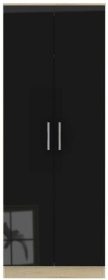Contrast 2 Door Wardrobe - High Gloss Black and Bardolino